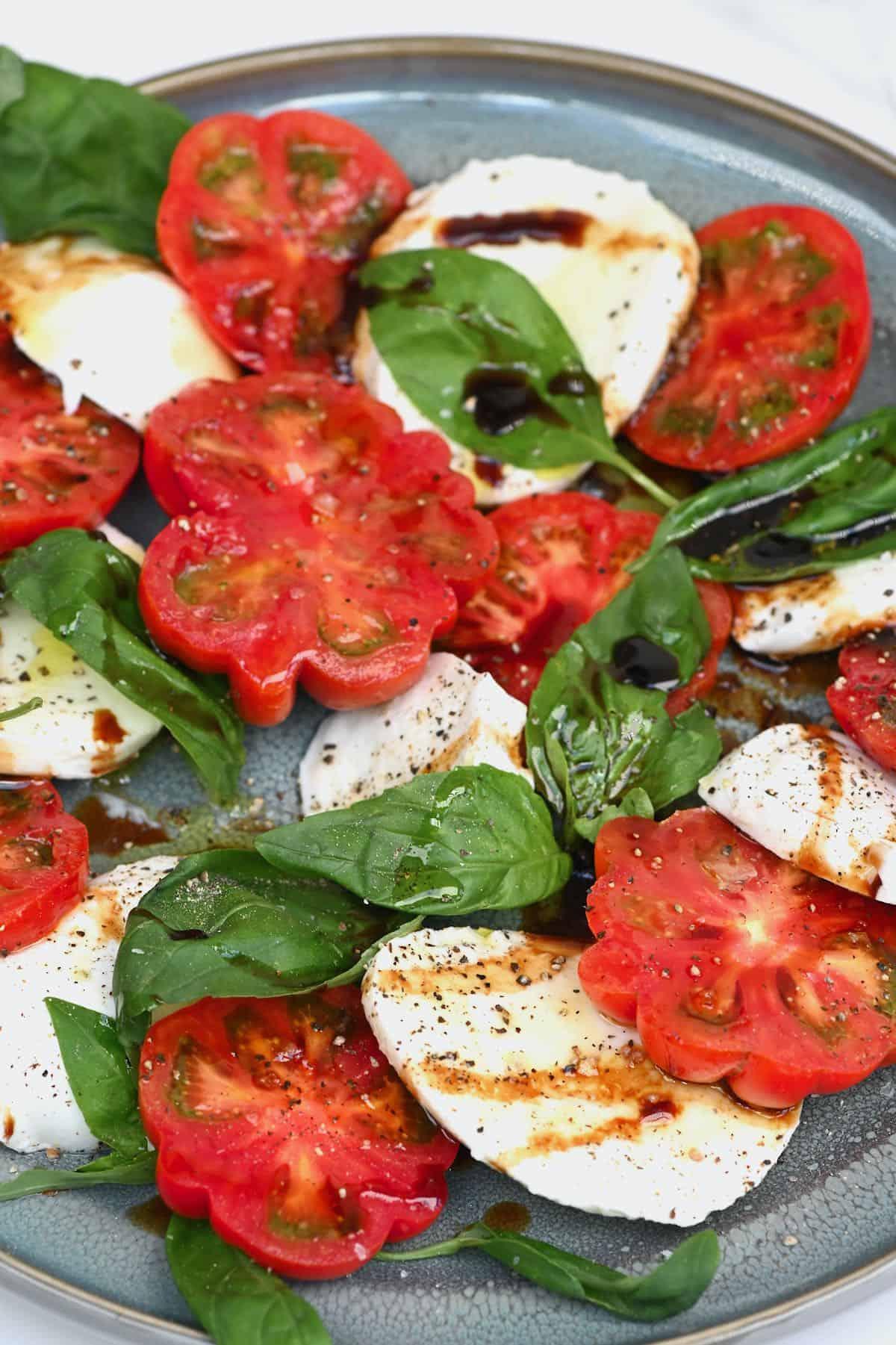 A caprese salad in a plate