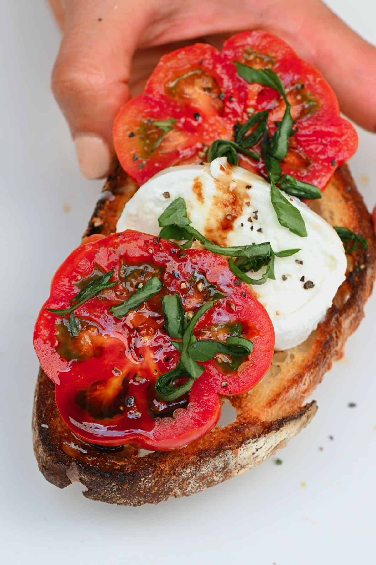 Caprese salad on top of a toasted slice of bread