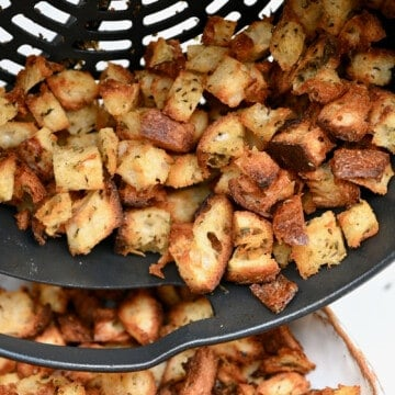 Homemade croutons in a pan