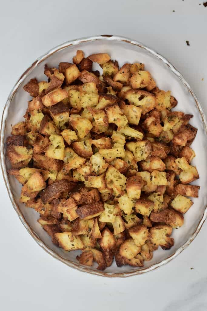 A bowl with croutons