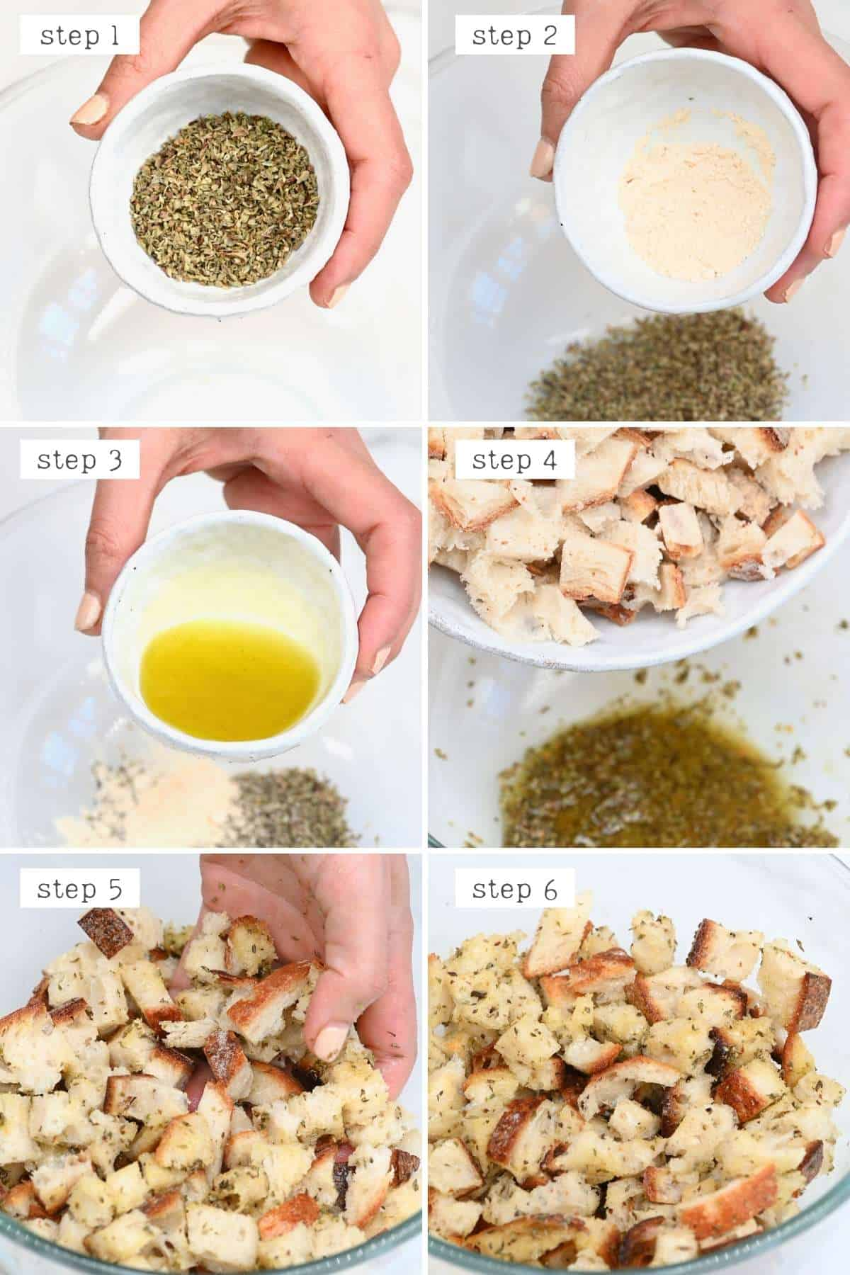 Steps for coating croutons with spices