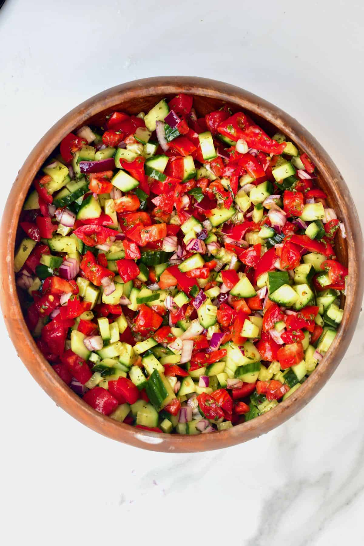 A bowl with shirazi salad