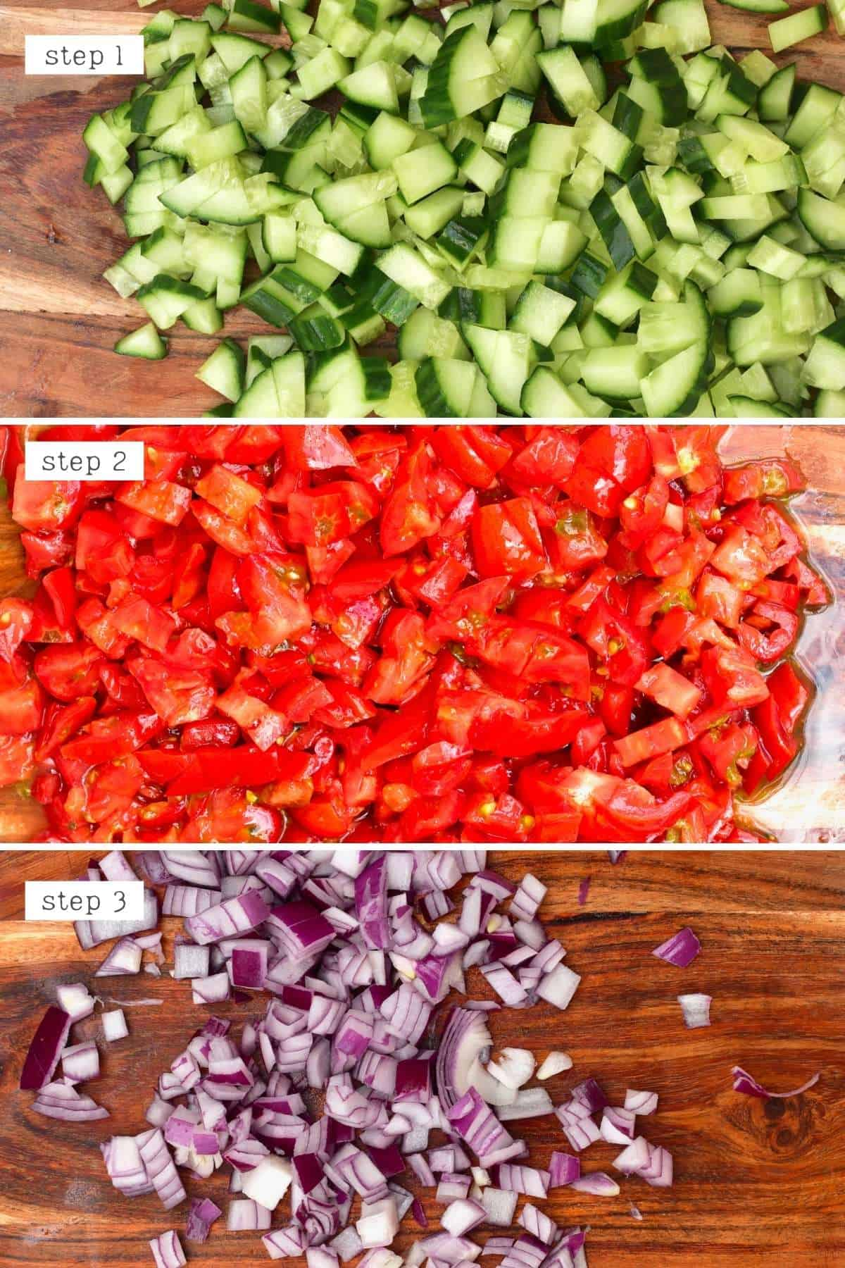 Cutting cucumber tomatoes and onion