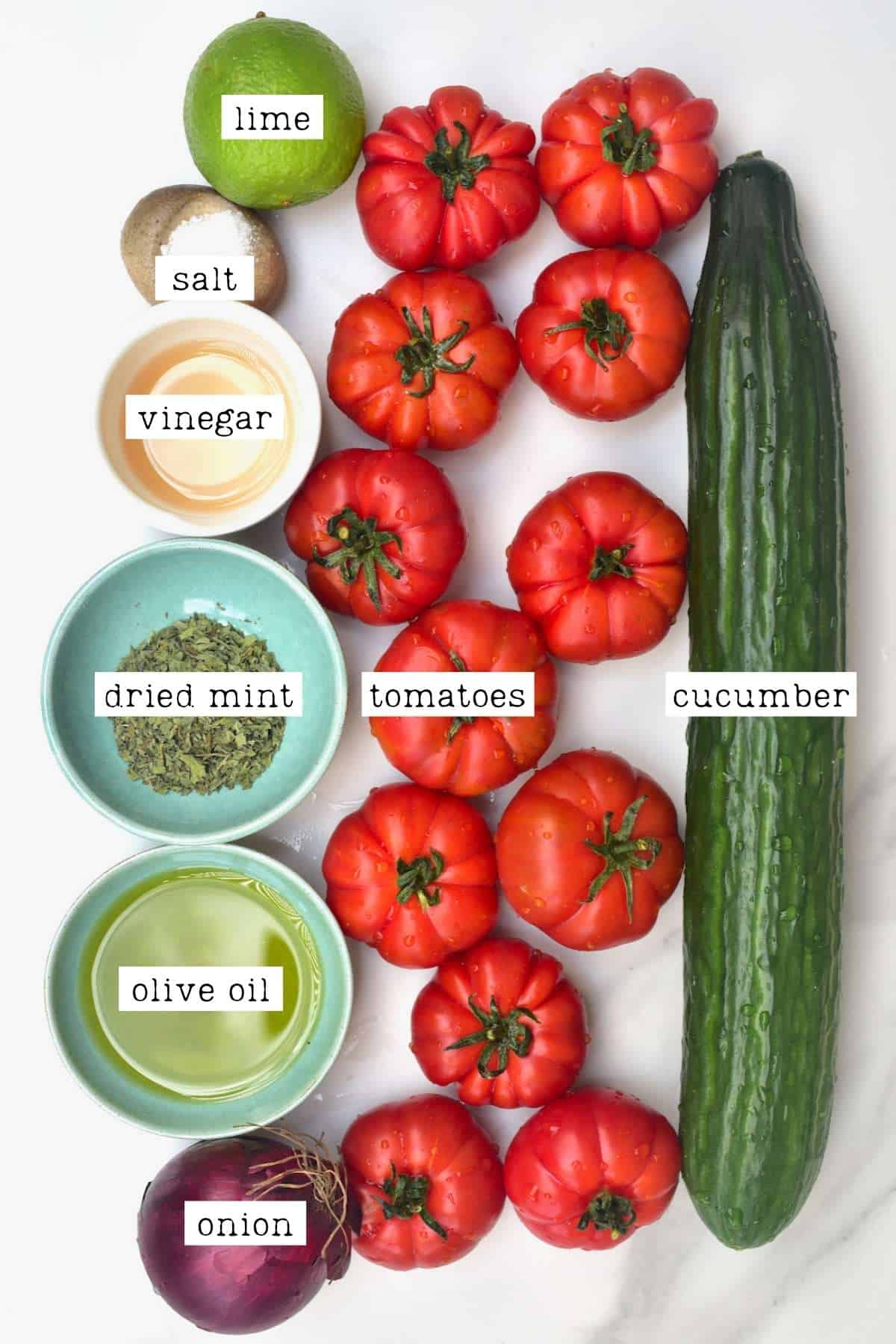 Ingredients for Shirazi Salad