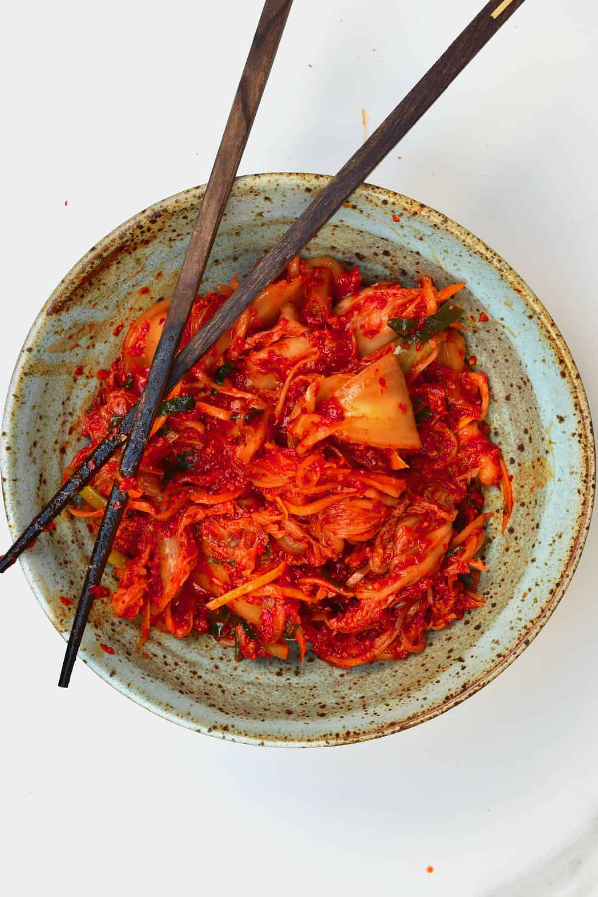 Kimchi served in a plate