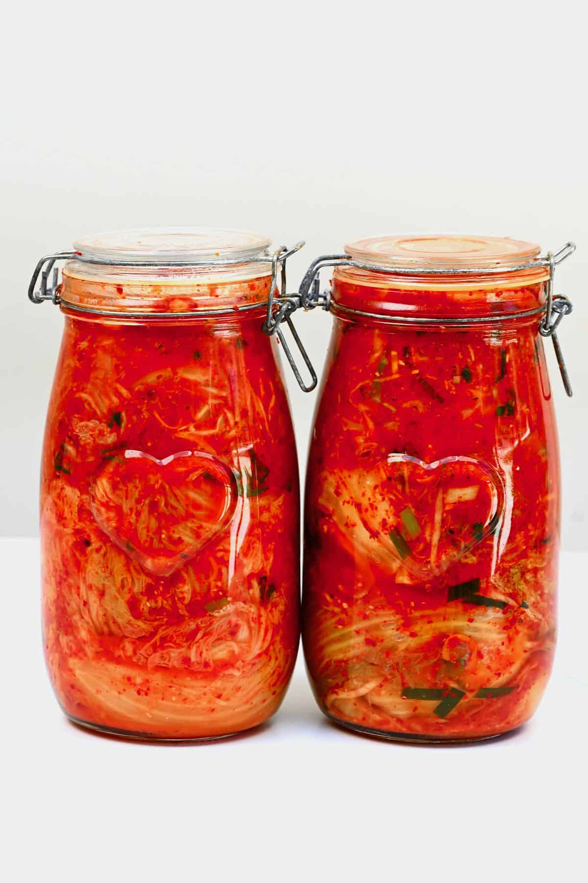 Two jars with kimchi