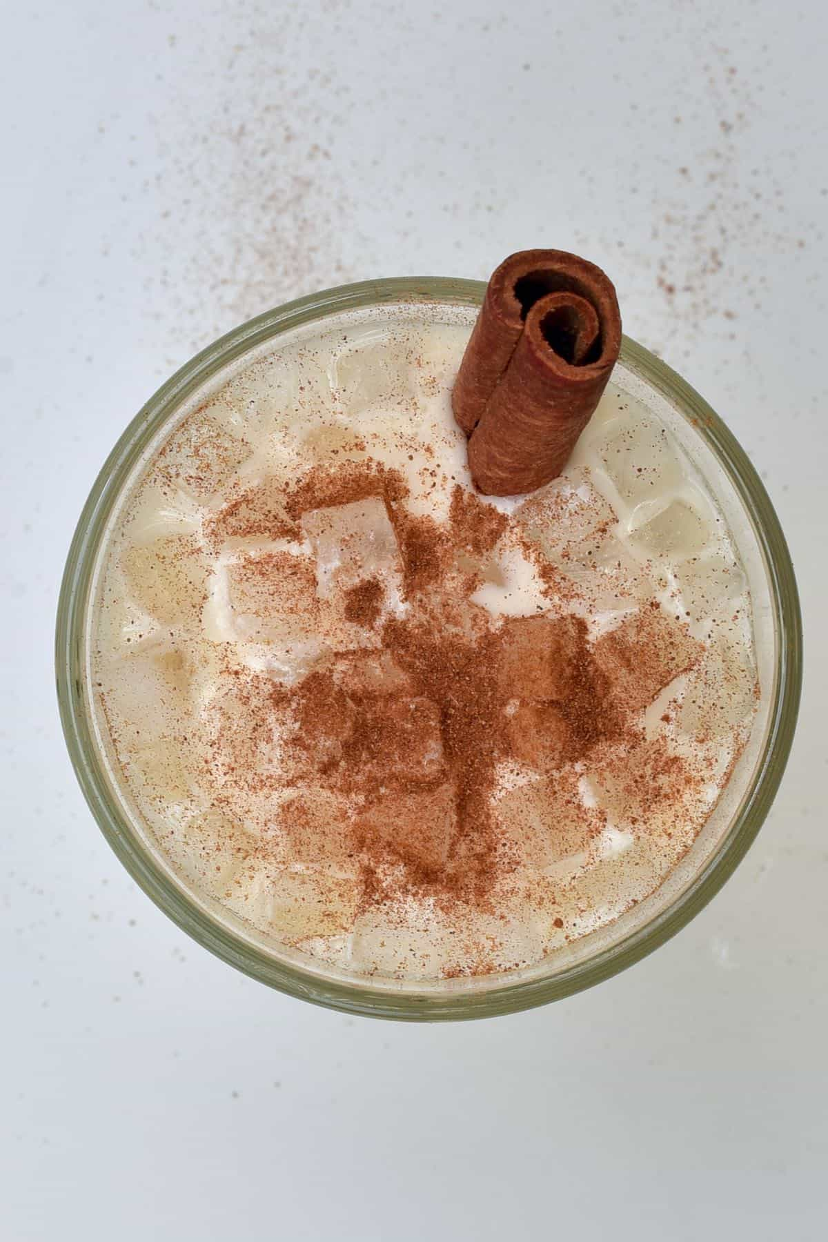 Mexican horchata drink topped with cinnamon and ice