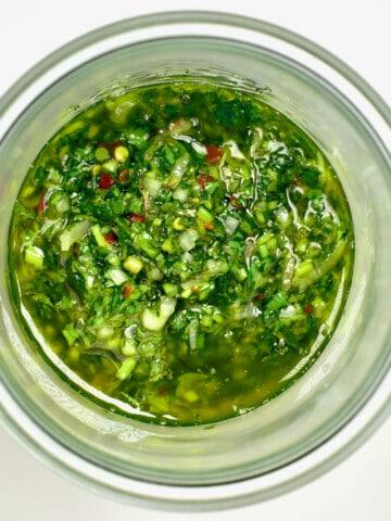 Chimichurri in a small jar