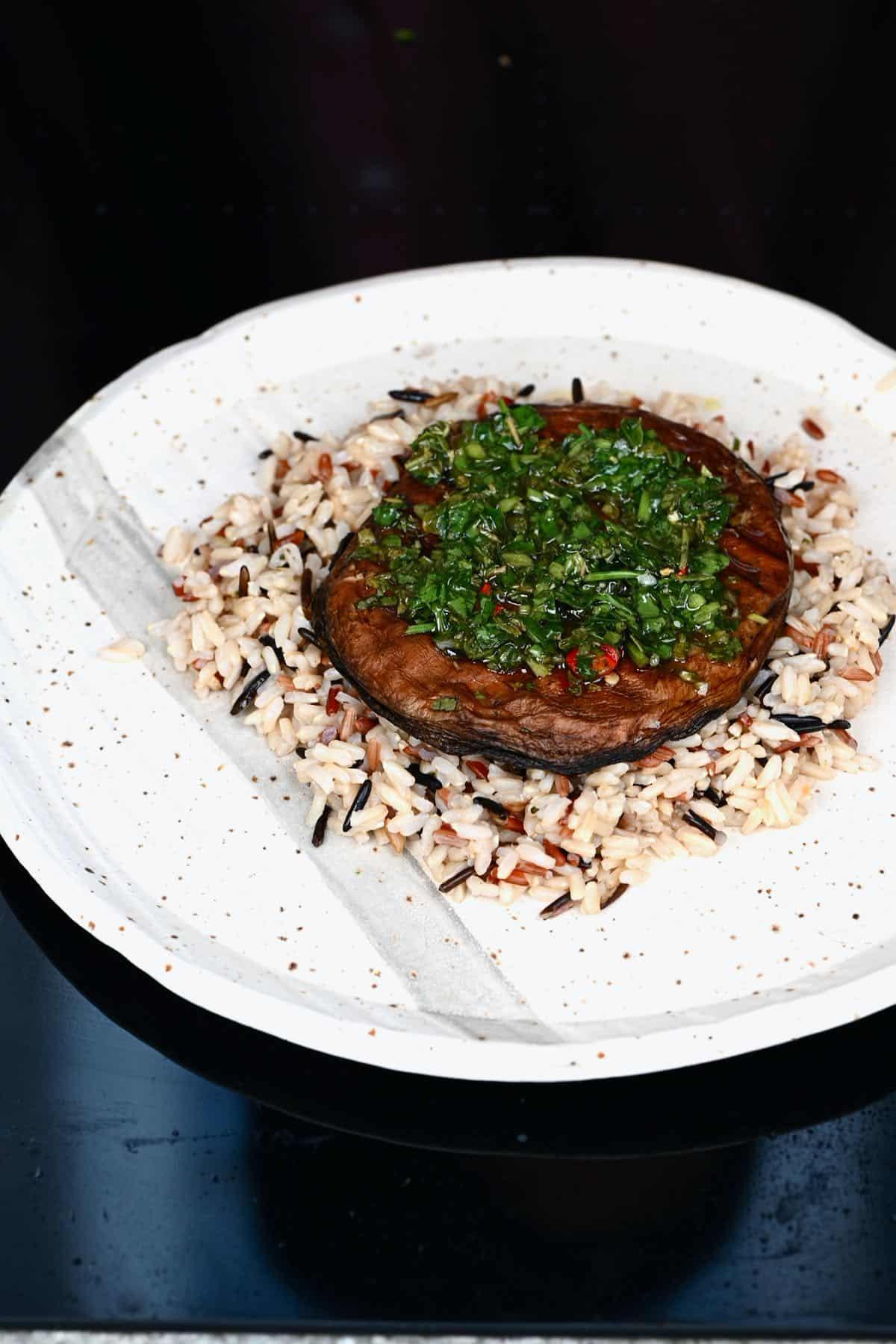 Rice mushroom and chimichurri