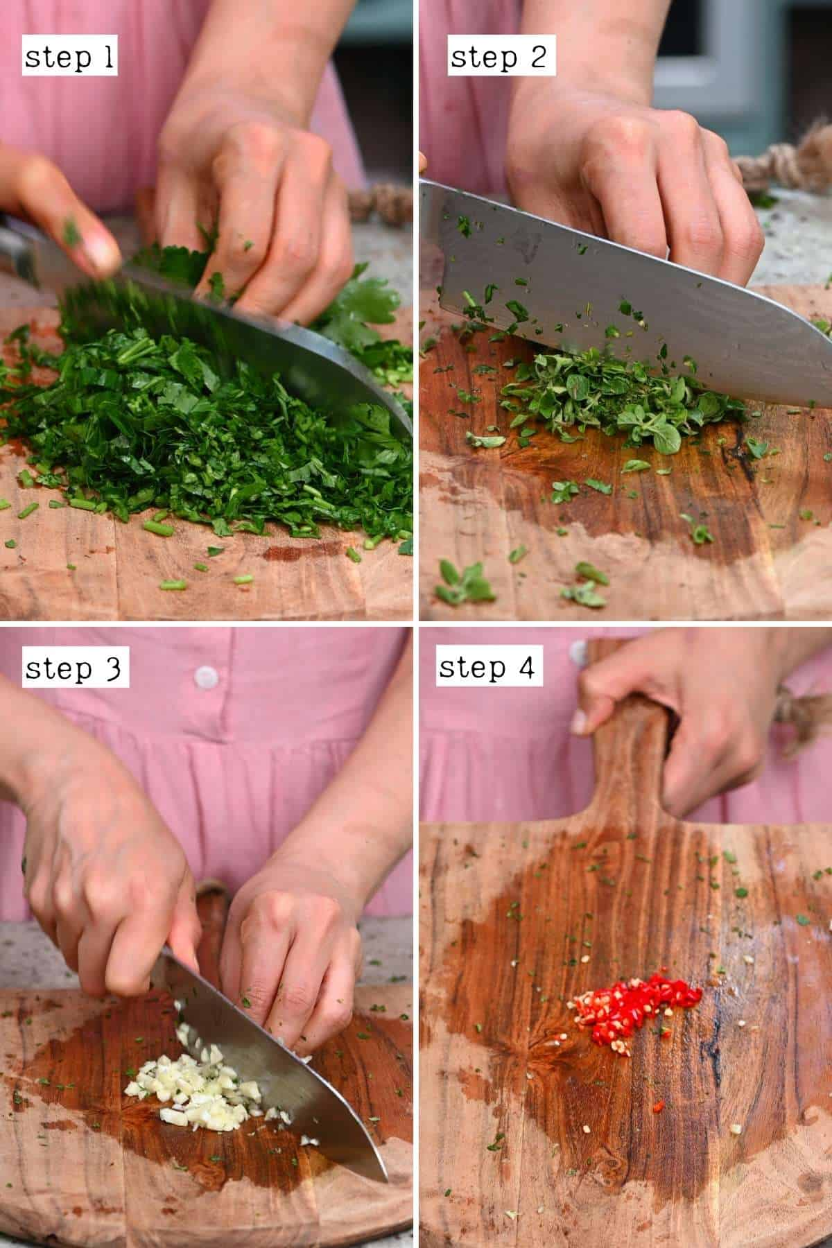 Steps for cutting ingredients for chimichurri
