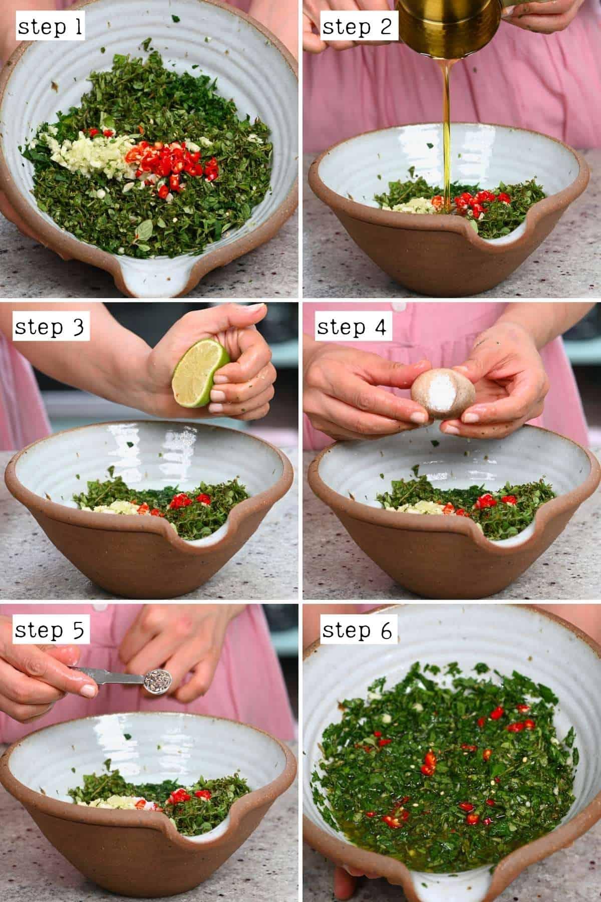 Steps for making chimichurri