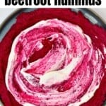 Beetroot hummus topped with whipped cheese