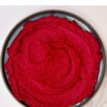 Beetroot hummus in a plate