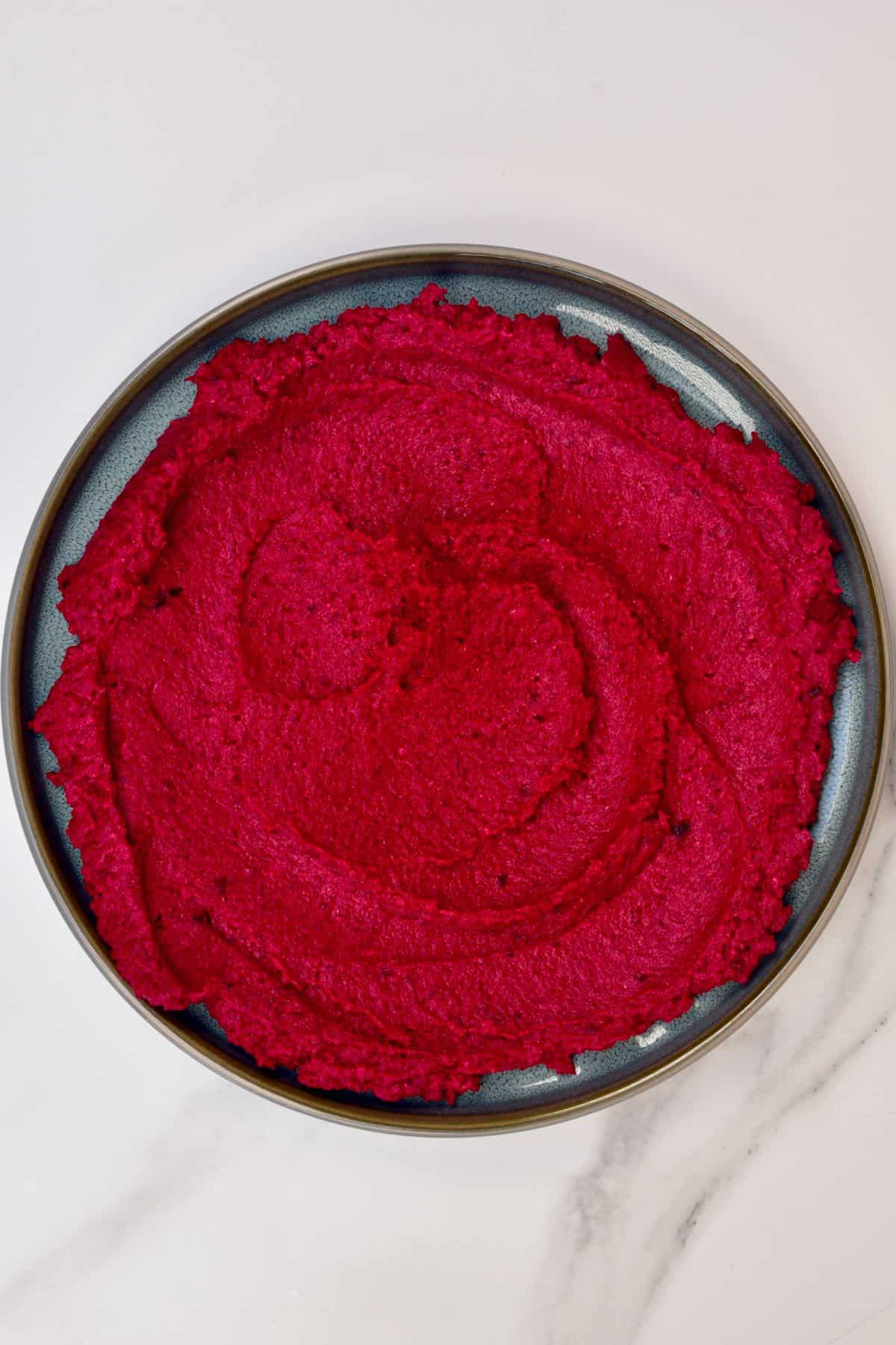 Beetroot hummus in a bowl