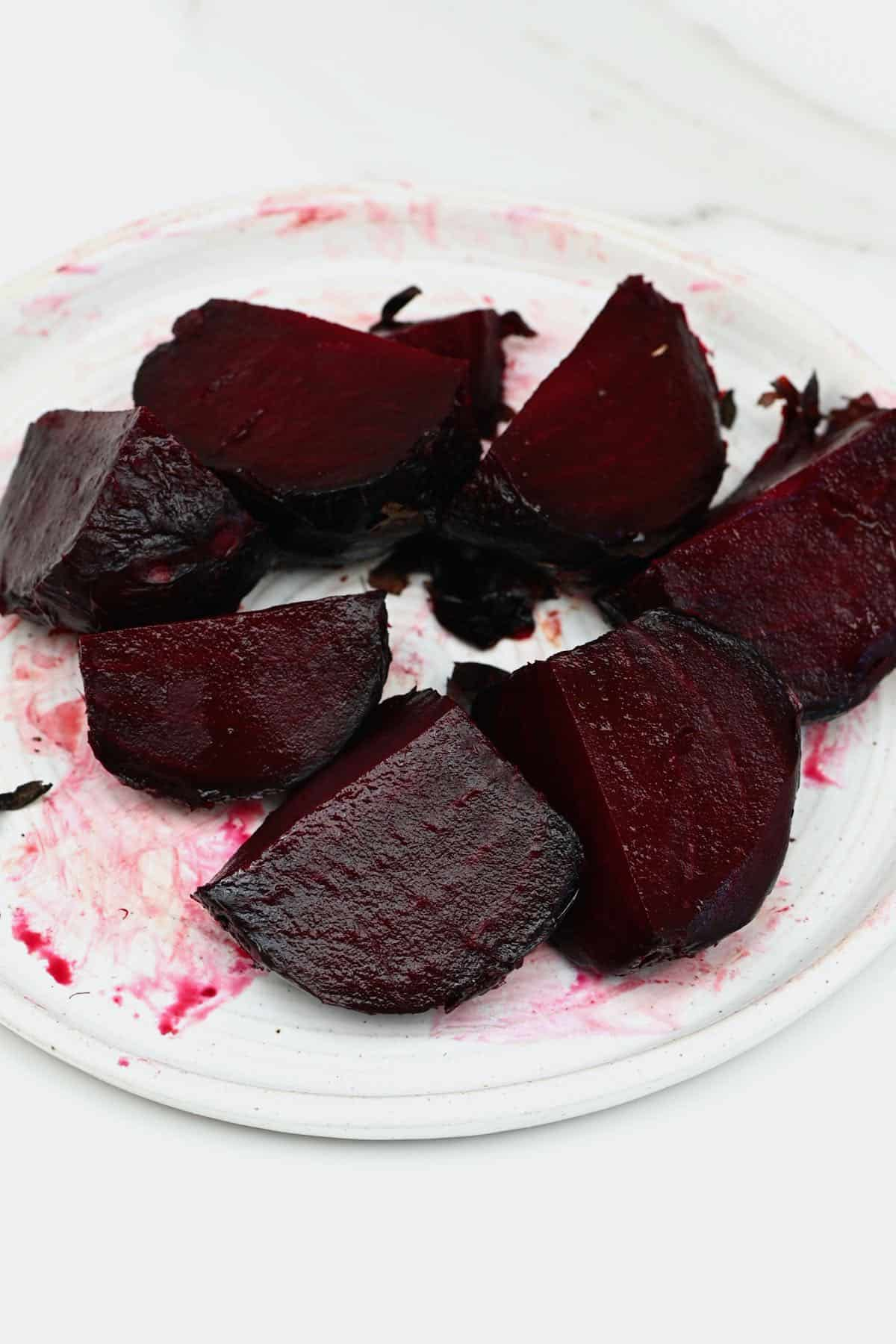 Sliced beetroot on a plate