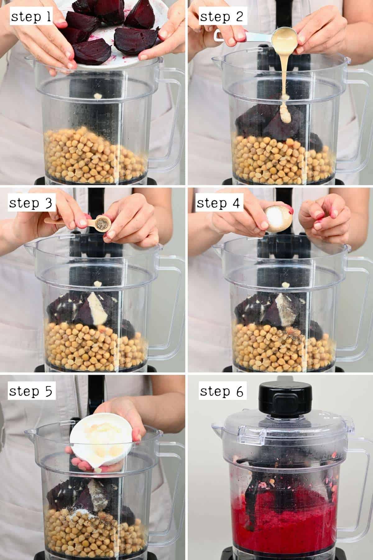 Steps for preparing beetroot hummus