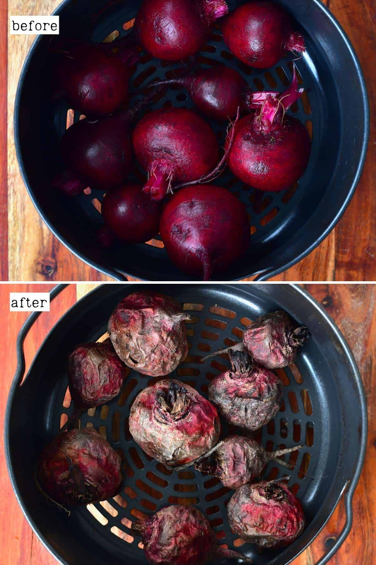Before and after roasting beetroot