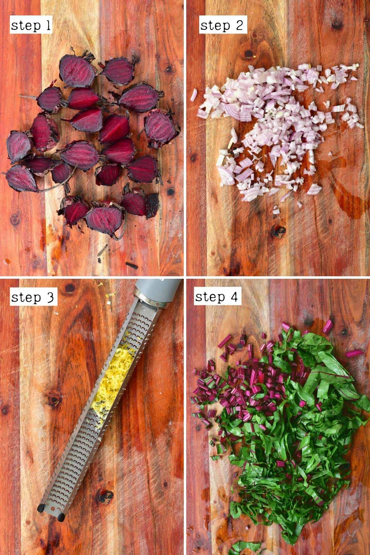 Chopped ingredients for beetroot salad