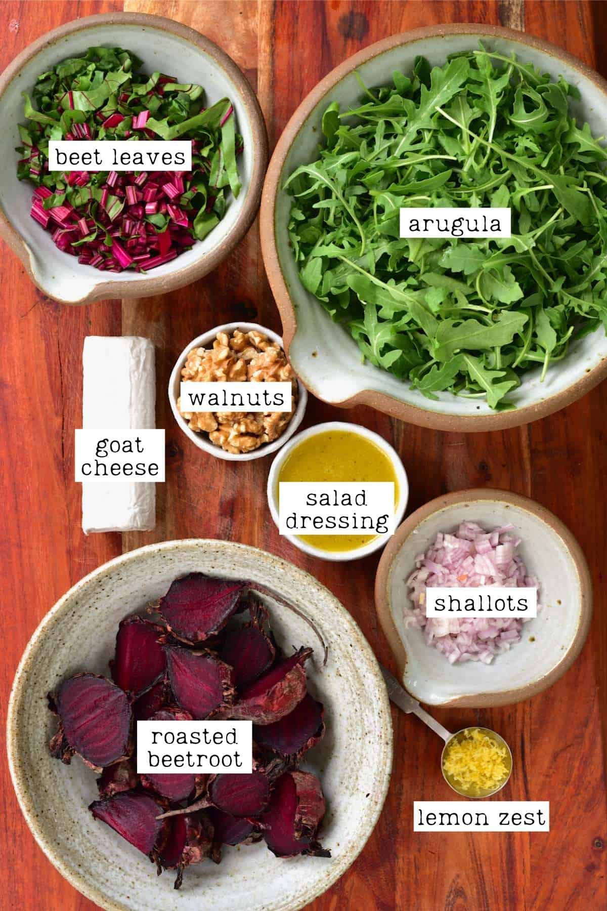 Ingredients for roasted beet salad with goat cheese