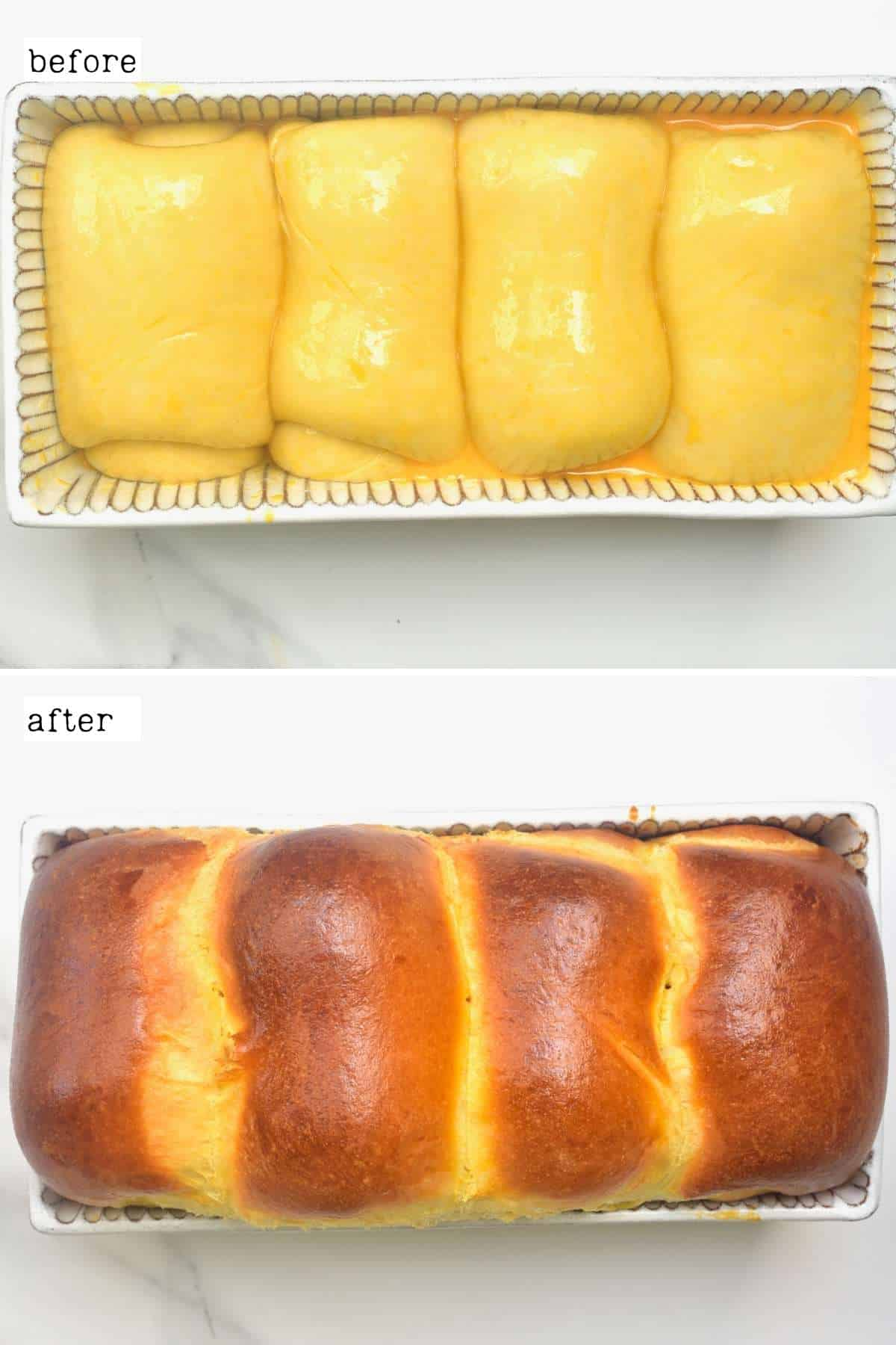 Before and after baking a brioche