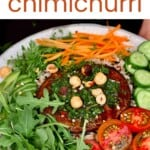 Salad topped with Chimichurri