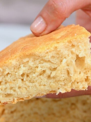 A piece of fluffy coconut bake bread