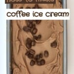 Coffee ice cream in a container