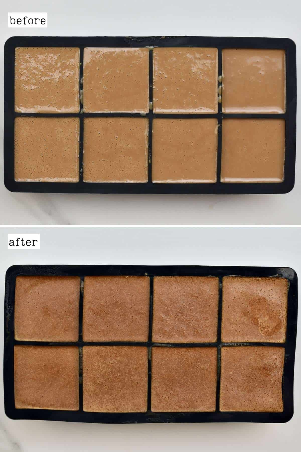 Before and after freezing coffee ice cream