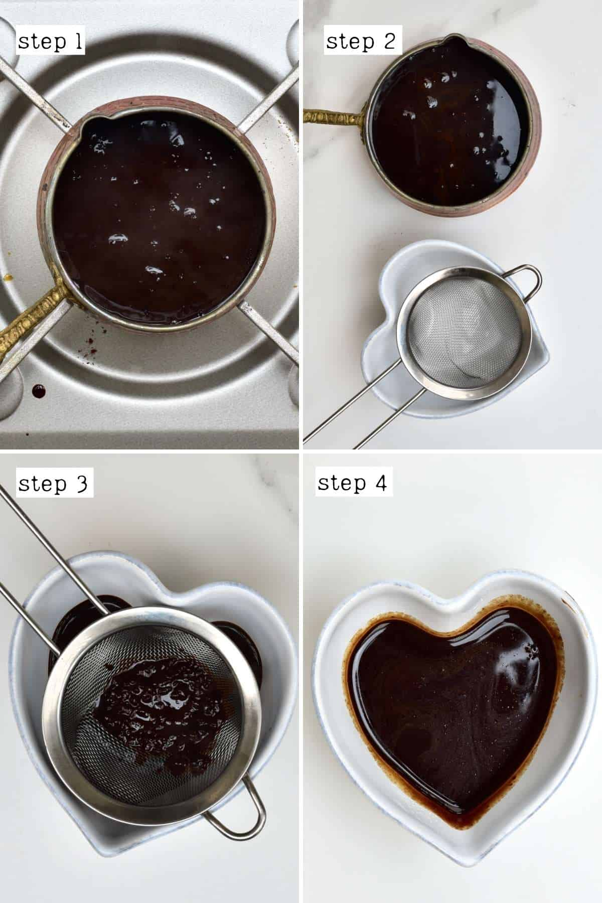 Steps for preparing coffee for ice cream