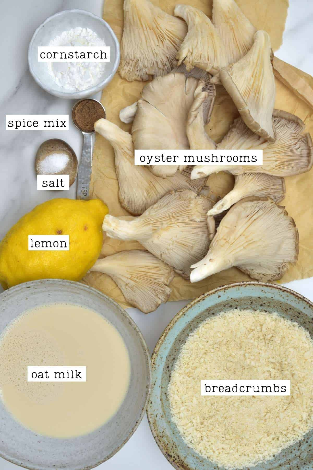 Ingredients for crispy oyster mushrooms
