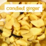 Candied ginger in a pot with syrup