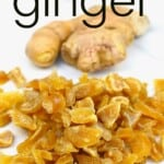 Crystallized ginger on a white surface