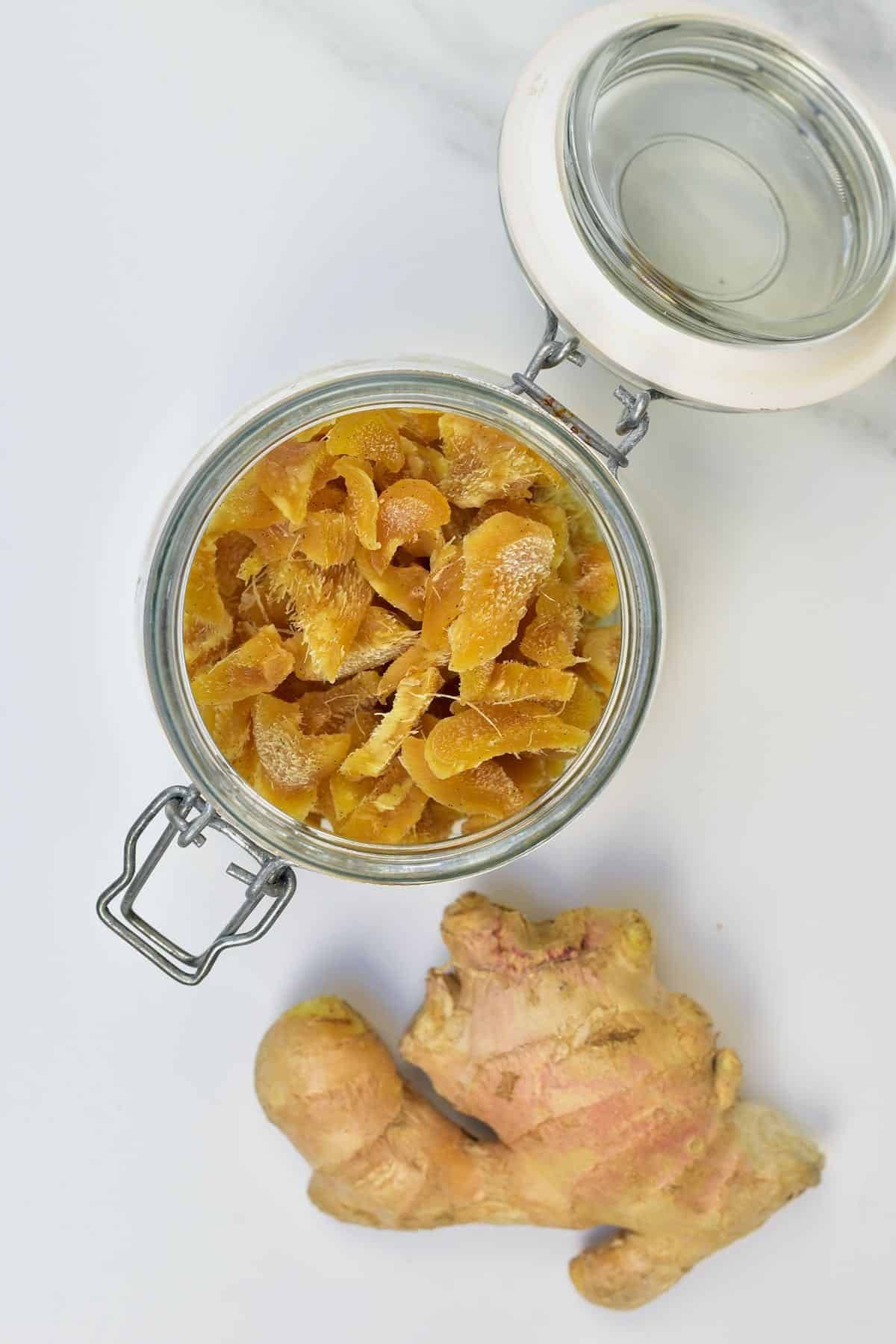 Crystallized ginger in a jar