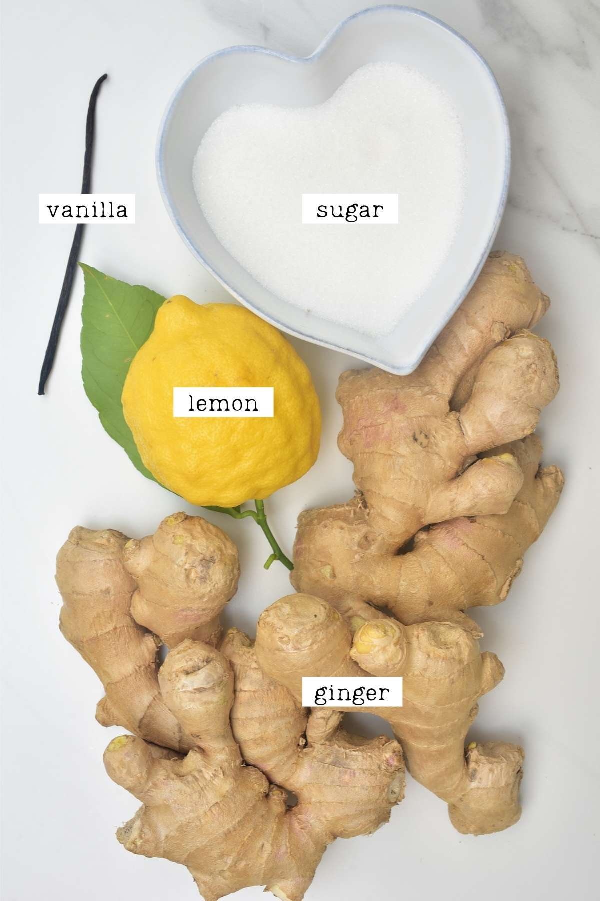 Ingredients for candied ginger