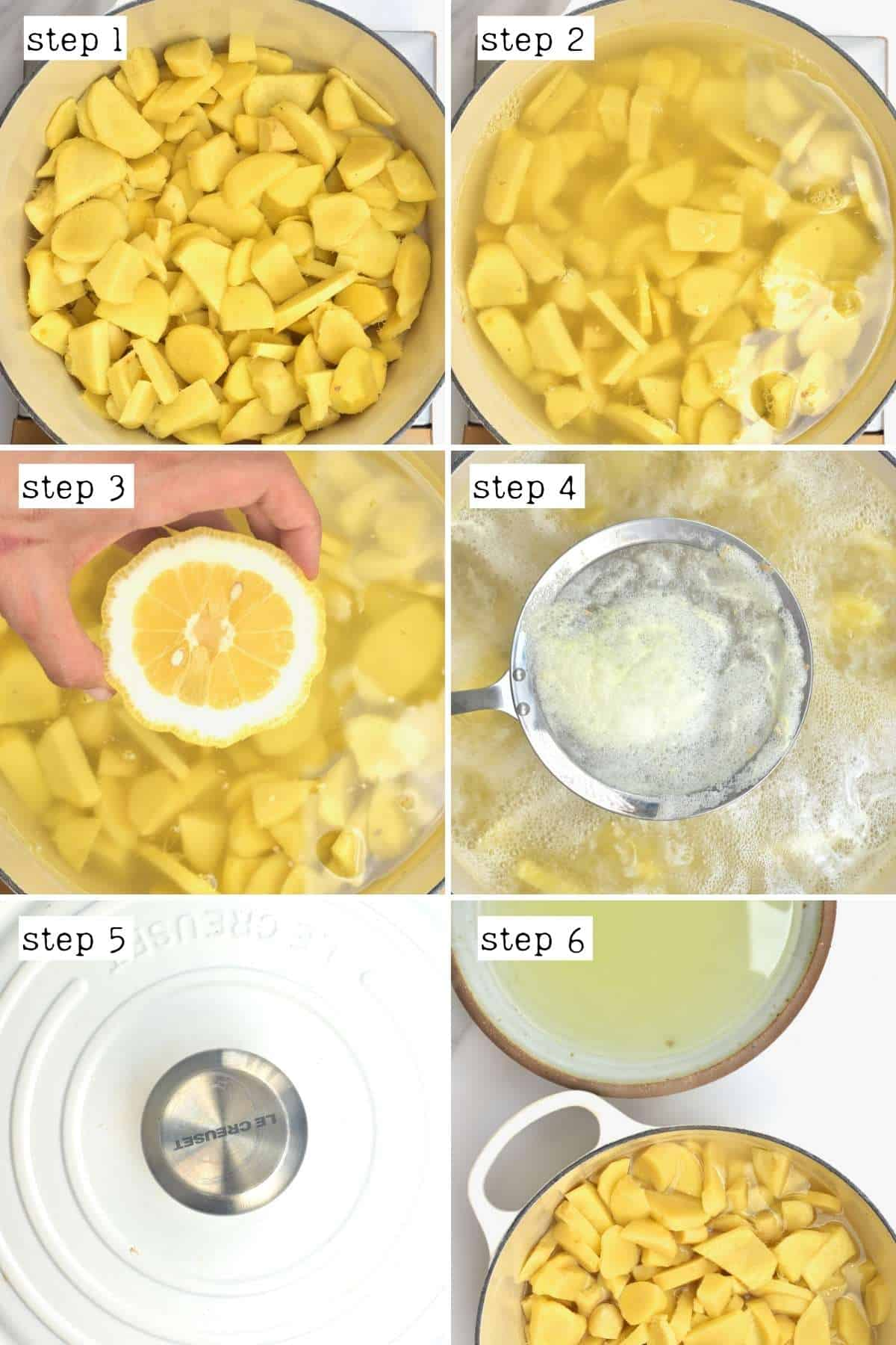 Steps for cooking ginger
