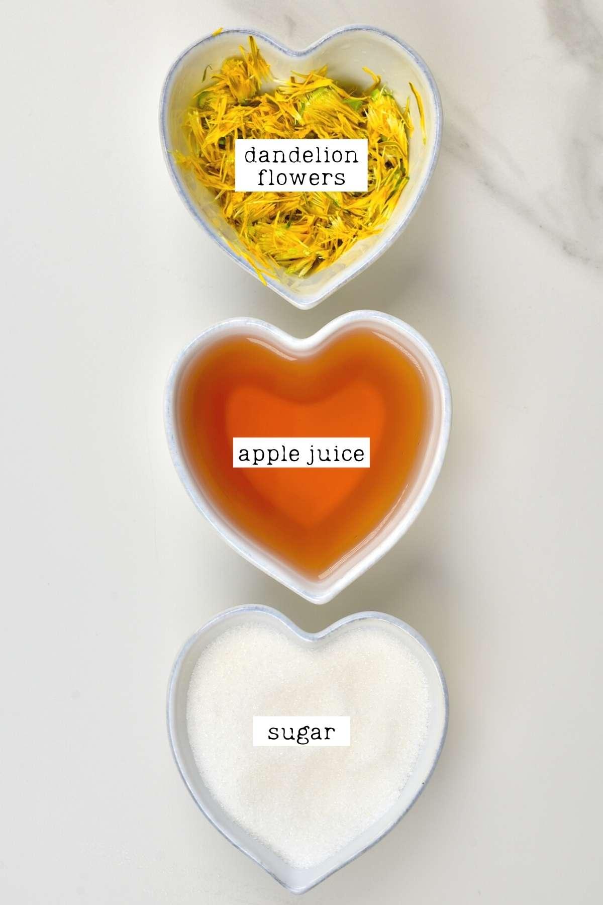 Ingredients for dandelion syrup
