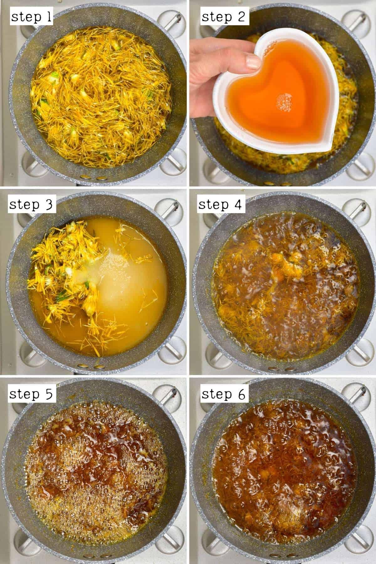 Steps for preparing dandelion syrup