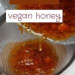Sieving vegan dandelion honey