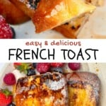 French toast in a plate and a fork