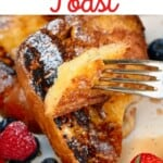A forkful with french toast