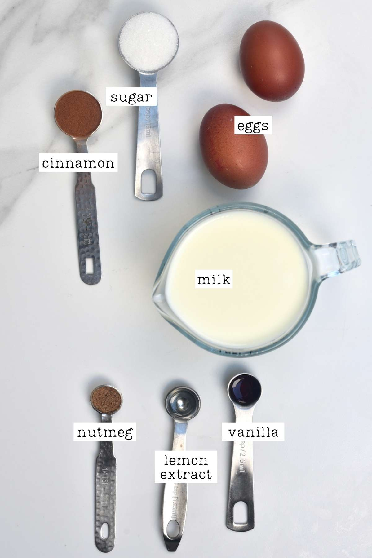 Ingredients for French toast