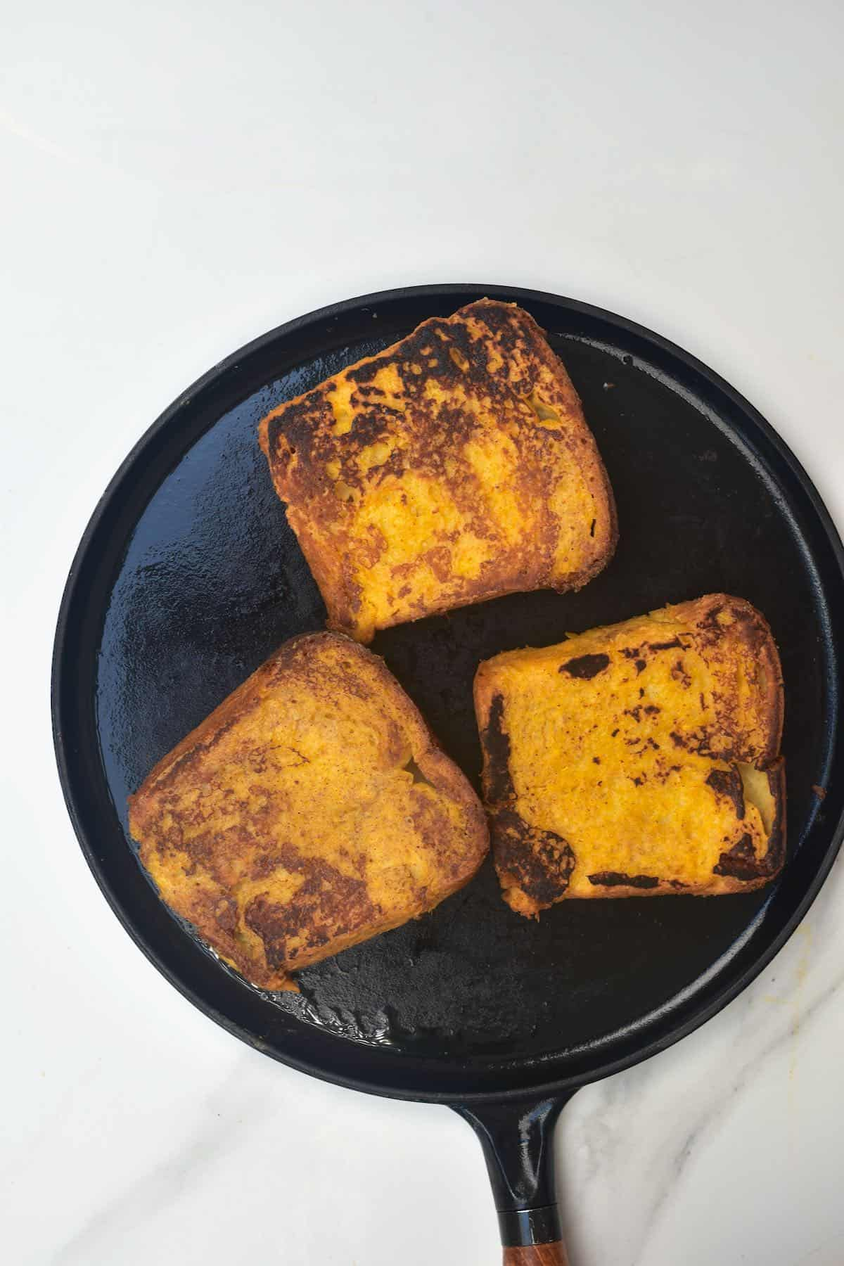 Pan-fried brioche French toast slices