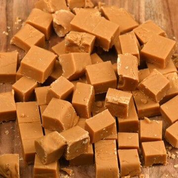 Homemade caramel fudge cut into cubes
