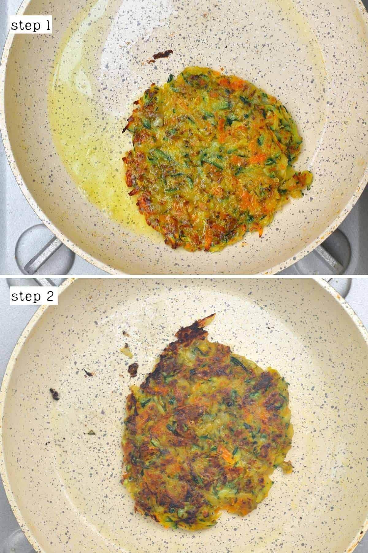 Pan-frying veggie fritter