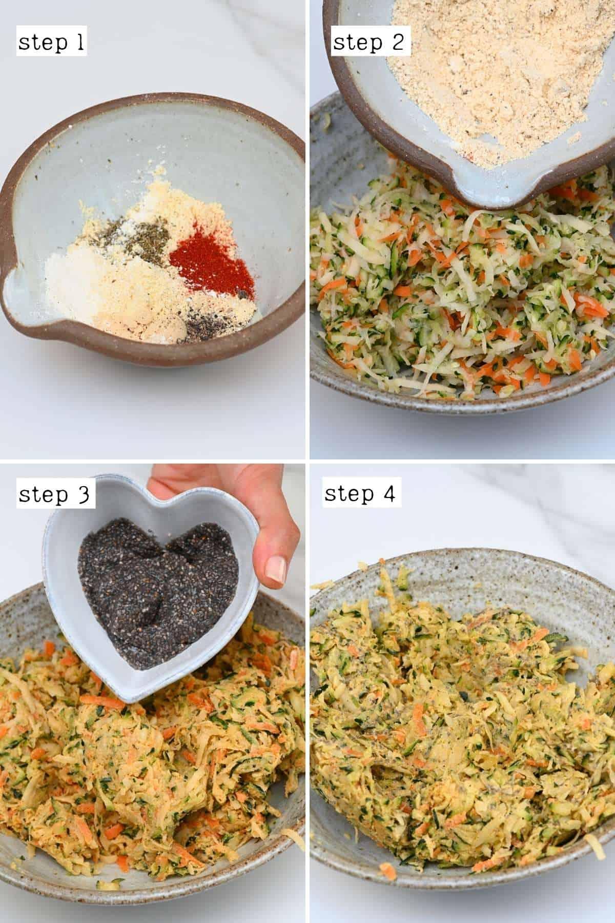 Steps for preparing veggie fritter batter