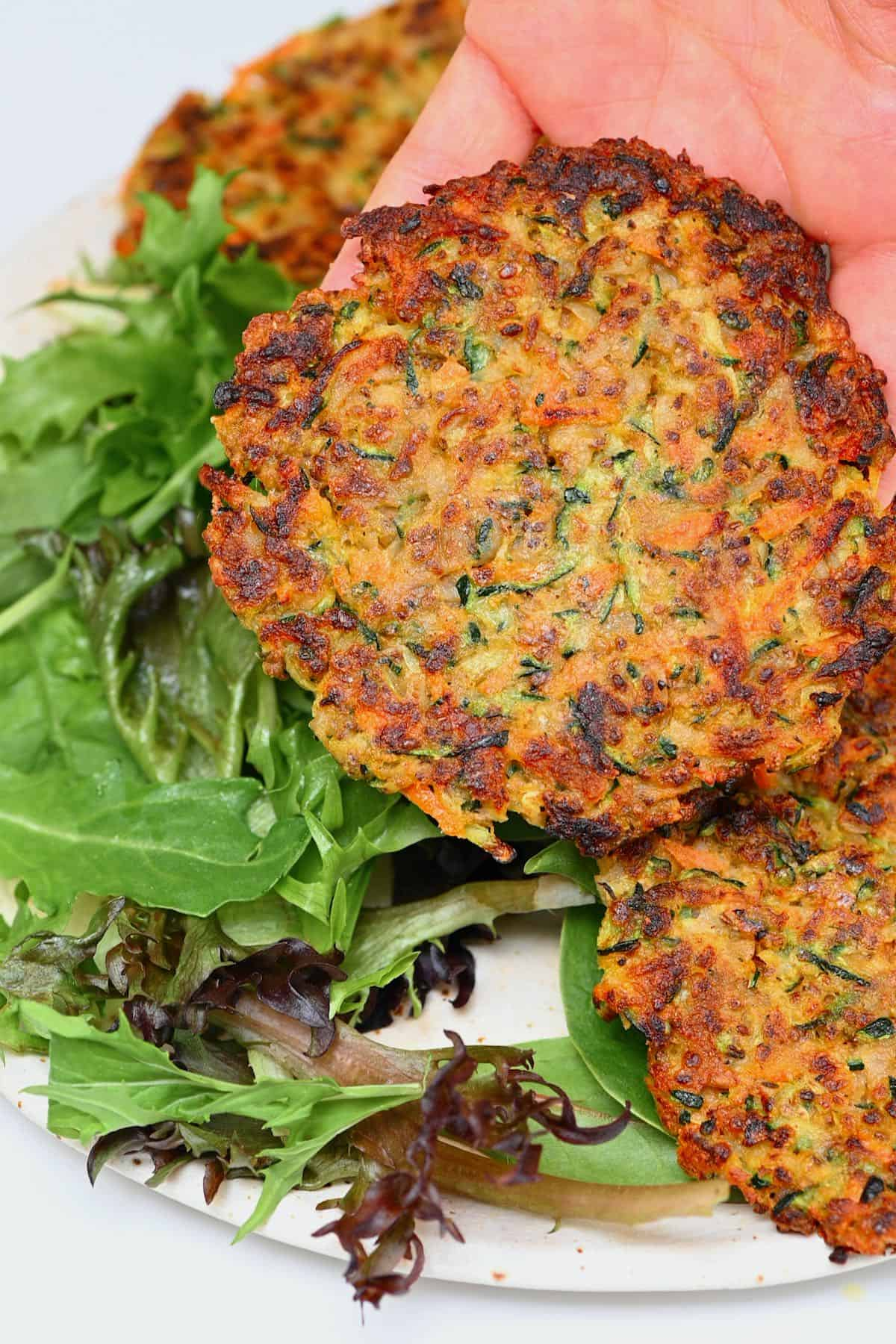 Veggie fritter and salad