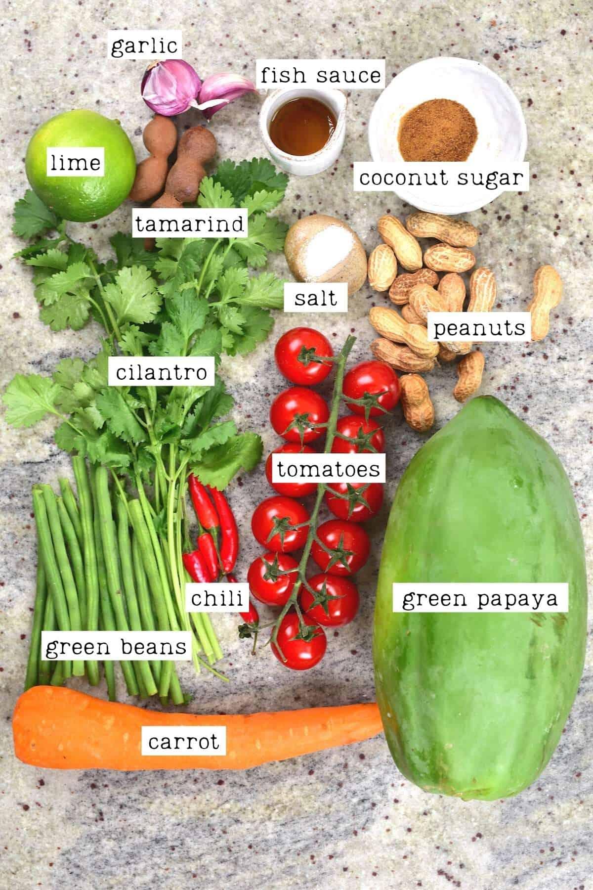 Ingredients for papaya salad