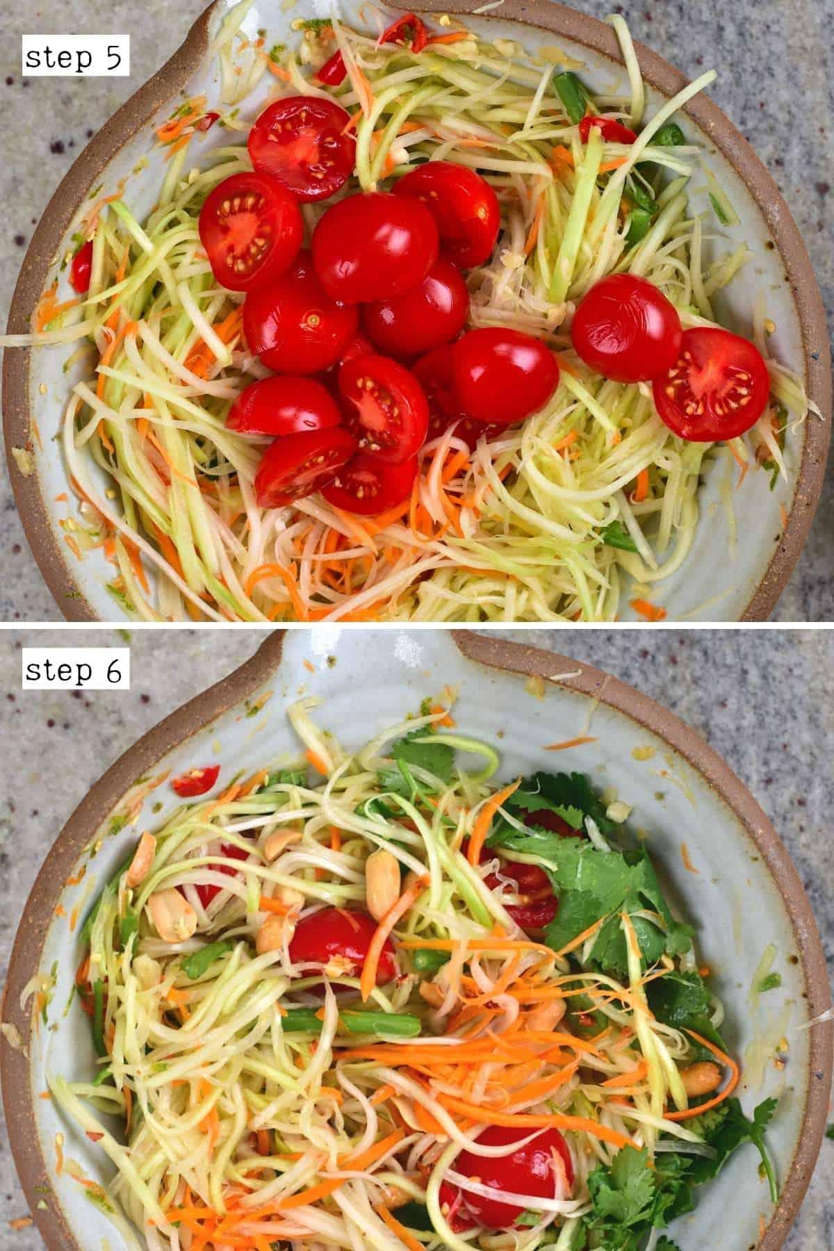 Steps for making a papaya salad