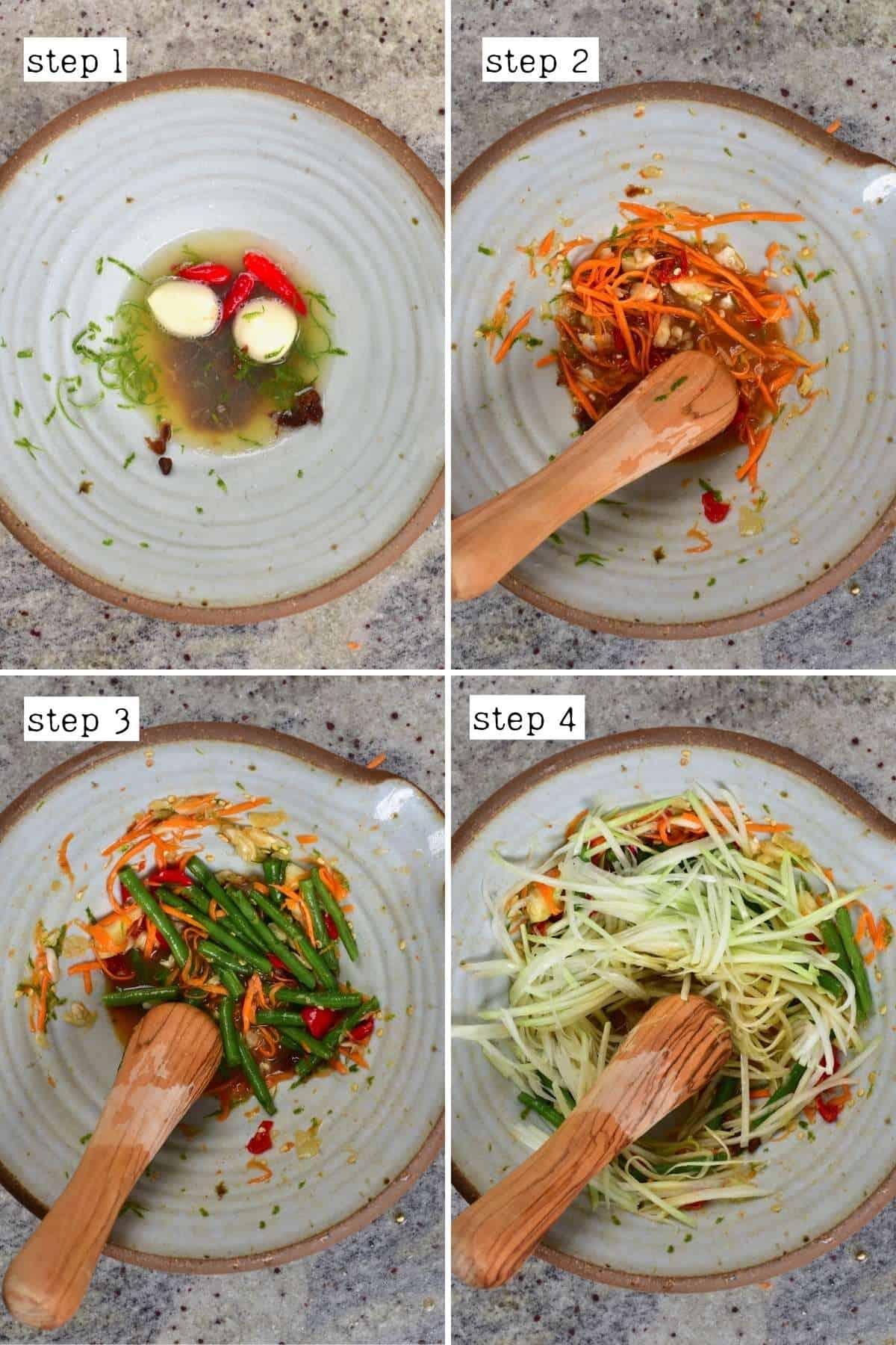 Steps to preparing papaya salad