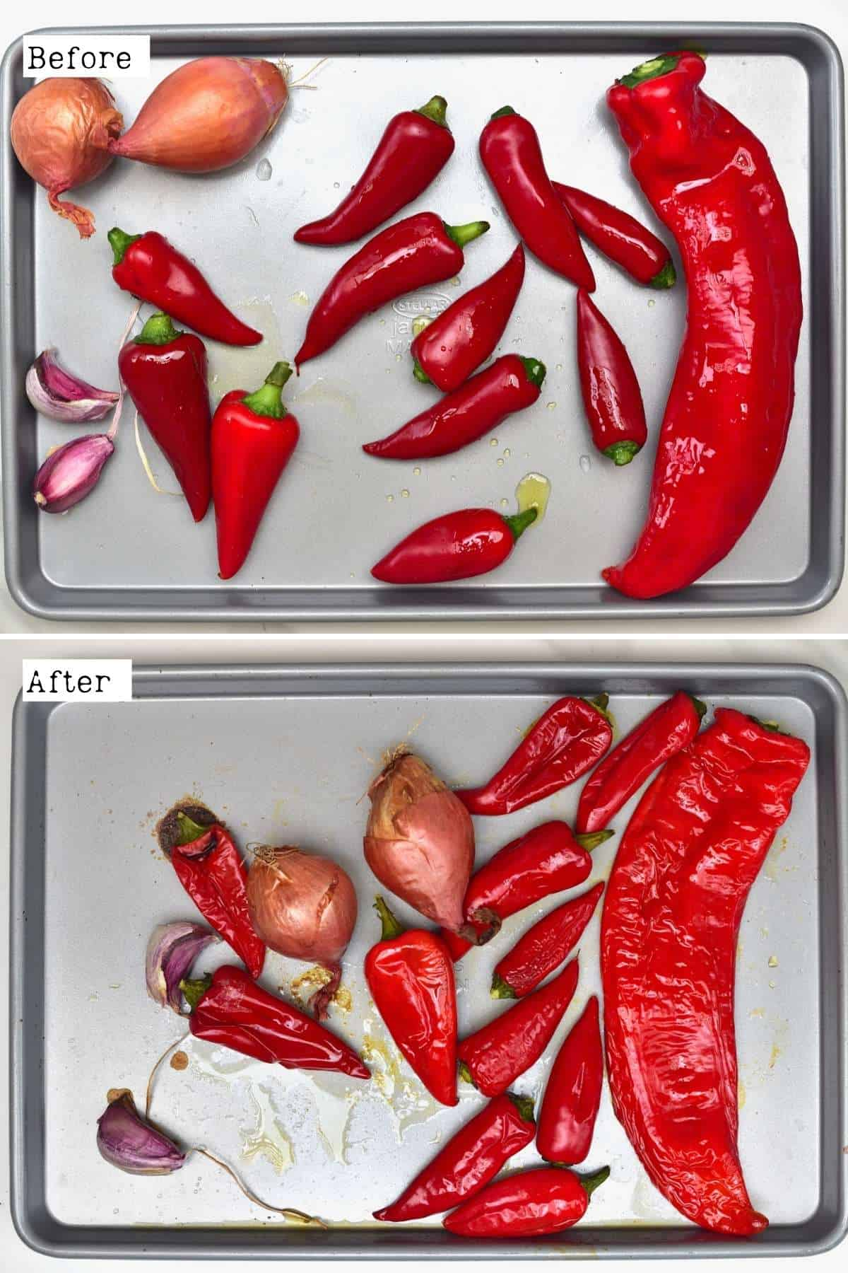 Before and after roasting chilies and pepper